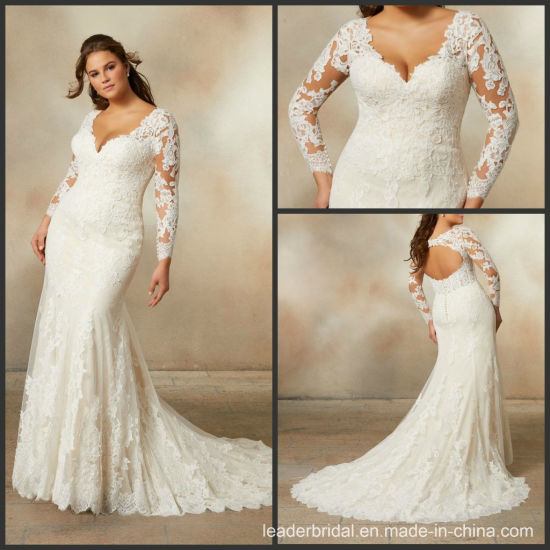 China Long Sleeves Bridal Gown V Neck Plus Size Lace Mermaid
