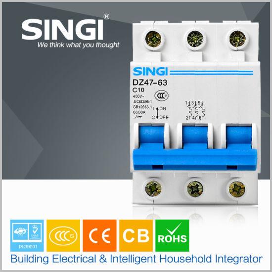 6ka Ce Certified C Type 1~63A 240/415V 3p Mini Circuit Breaker MCB