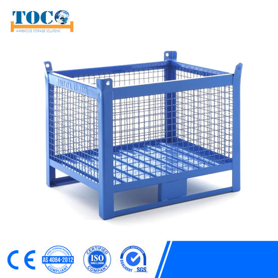 Industrial Stackable Welded Warehouse Customized Storage Foldable Galvanized Metal Steel Rigid Wire Mesh Pallet Box pictures & photos