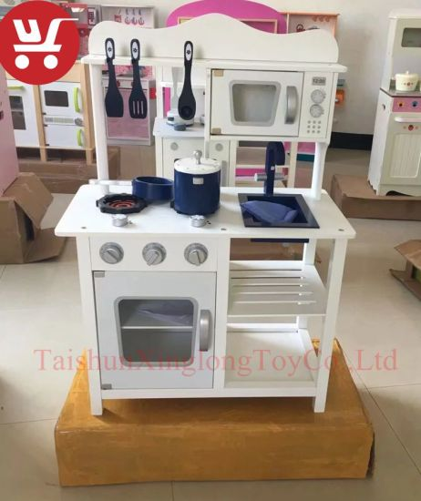 Xlk10237 New Style Kids Pretend Play Wooden Toy Play Kitchen