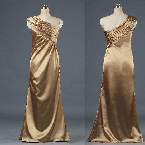 Vintage Satin One Shoulder Bridesmaid Gown Maxi Dresse for Ladies E109 pictures & photos