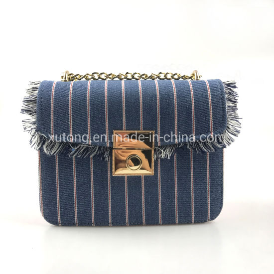 New Design Contrast Color Lady Handbags PU Leather Women Crossbody Bags with Jean pictures & photos