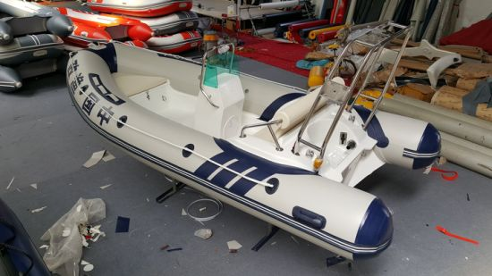 Haoyu 4.3m 14FT Rib420c Rigid Boat with Hypalon Fiberglass Hull Inflatable Boat Rubber Boat