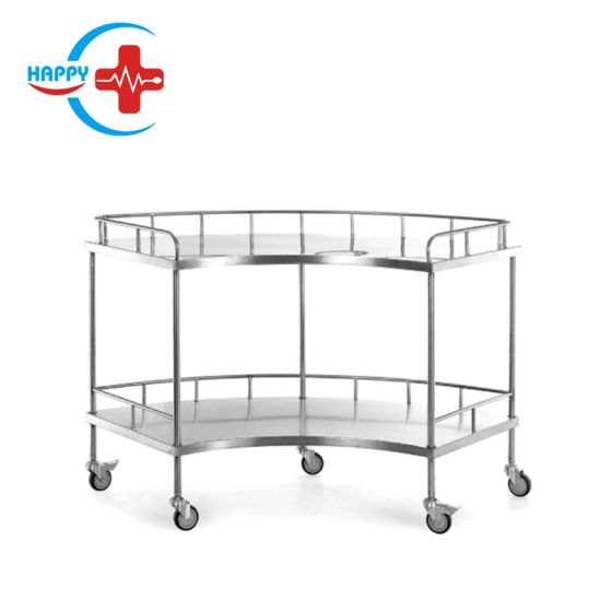 Hc-M033 Specially Hospital Stainless Steel Fan-Shaped Apparatus Cart/Two Layers Surgical Instrument Table Cart for Operation