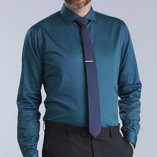 China Plain Blue Trendy High Quality Dress Office Long Sleeve Shirt