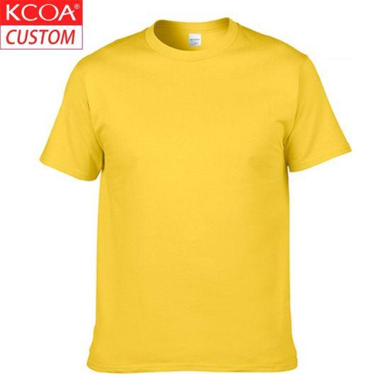 Custom Short Sleeve Yellow Plain Blank Men Cotton T Shirt