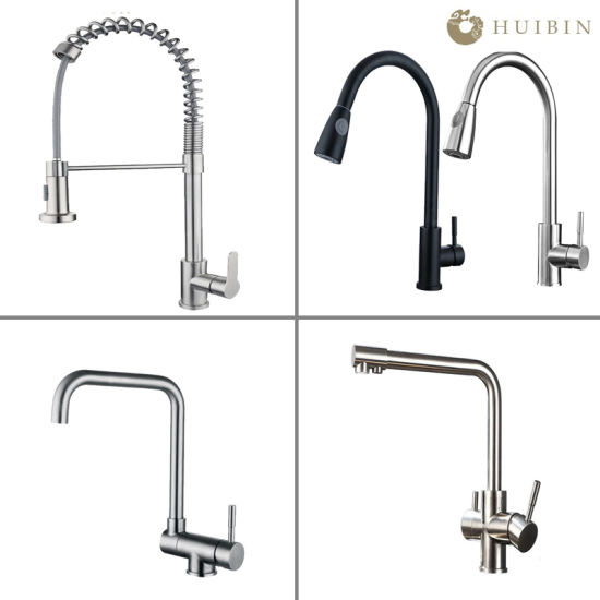 Modern Hot&Cold Stainless Steel Kitchen Sink Faucet with Pull out Spray
