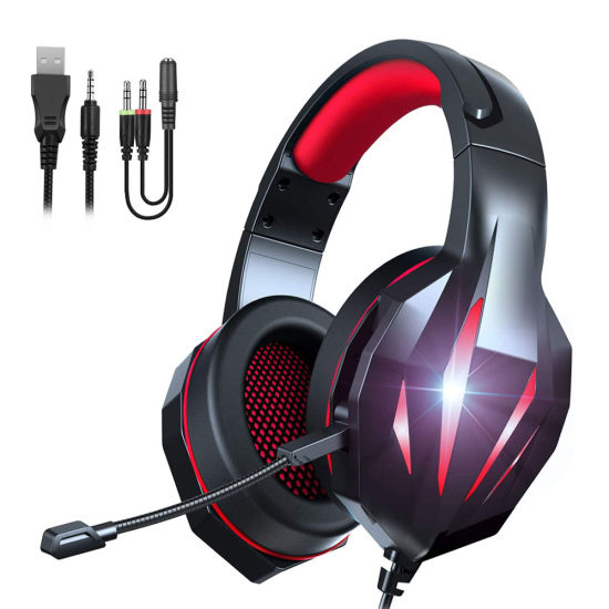 Multi-Platform Compatible Surrounding Stereo Subwoofer One Controller Noise Cancelling LED Light Gaming Headset