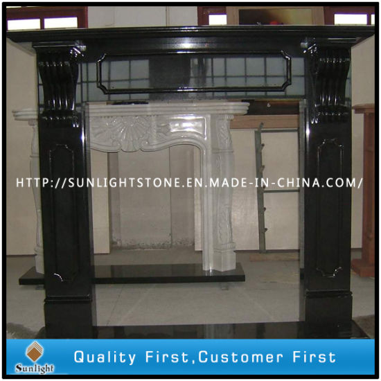 China Carved Black Marble Fireplace Surround Sculpture Stone