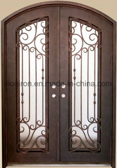China Low Price Tempered Safety Glass Doors Iron Front Doors China