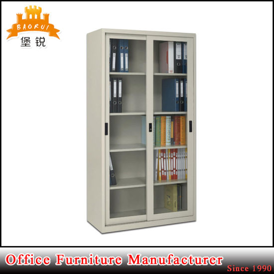 Jas-018 Sliding Glass Door 4 Adjustable Shelf Steel Storage Cupboard pictures & photos