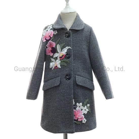 Herringbone Wool Long Children Girl Flower Applique Winter Coat Jacket New Arrival