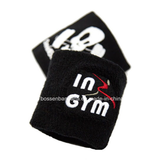 Factory OEM Produce Customized Embroidery Black Terry Sports Sweatband pictures & photos