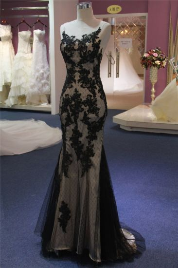 Black Lace Applique Beading Mermaid Wedding Dress Evening Dress