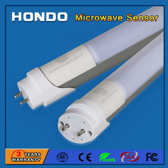 China Manufacturer T8 LED Tube Microwave Motion Sensor 1200mm 4FT 18W for Stairs, Parking Lot, Corridor, Basement