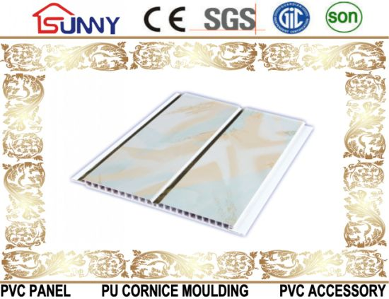 20cm Width Middle Groove PVC Wall Panel Ceiling Panel with Printing for Interior Decoration pictures & photos