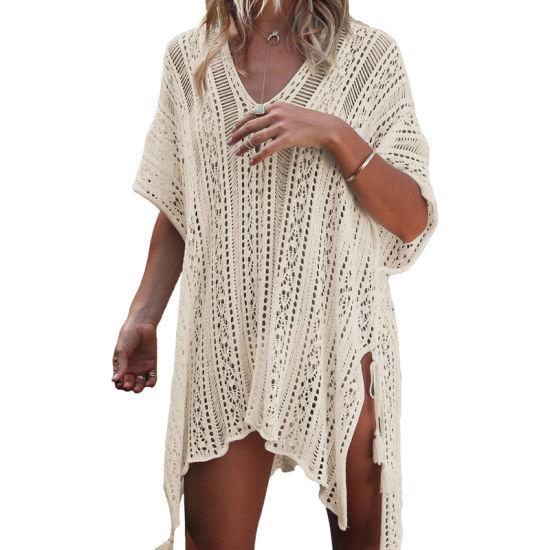 89b33bd8a2 Women Apricot Crochet Knitted Tassel Tie Kimono Beachwear - China ...