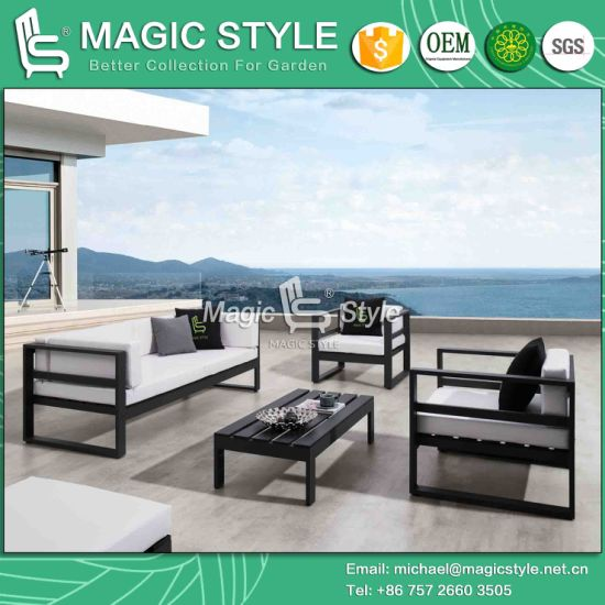 Outdoor Aluminum Sofa Set With Pu Cushion Garden Furniture Patio Leisure Modern Chaise Poly Wood