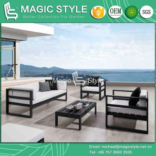 Outdoor Aluminum Sofa Set With PU Cushion Garden Furniture Patio Furniture  Leisure Sofa Set Modern Chaise Sofa Poly Wood Sofa