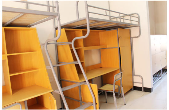 School Furniture Zhangzhou Factory Supply Metal Simple Rectangle Space  Saving Furniture Cheap Dorm Bunk Bed For Sale