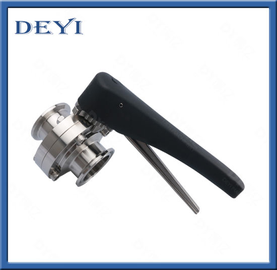 SS304 SS316L Stainless Steel Sanitary Manual Pneumatic Clamped Butterfly Valve with Clamp Ends