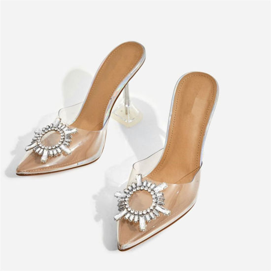 Diamonds Transparent Heel Mule in Silver Holographic High Heel Sandals for Girls