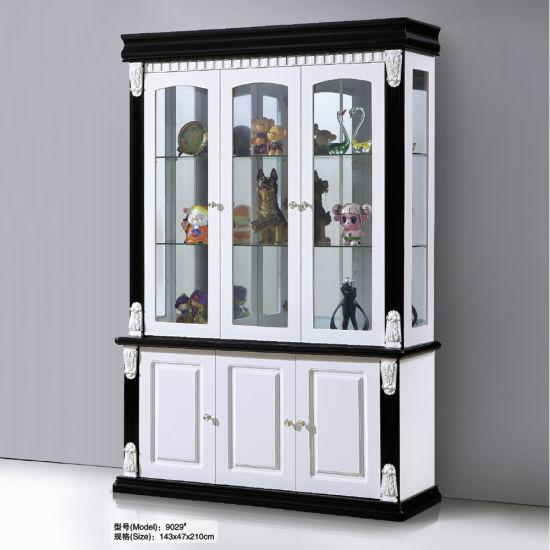 Modern White Black Wood Glass Wine Storage Display Cabinet