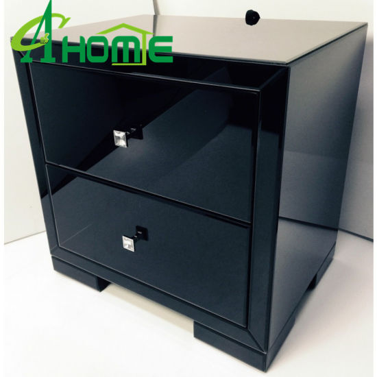 New Design Bedroom Furniture Black Mirror Nightstand Bedside Table China Made In Com