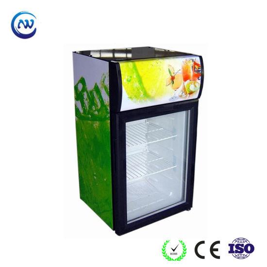 China Mini Glass Door Fridge Glass Beverage Refrigerator Commercial