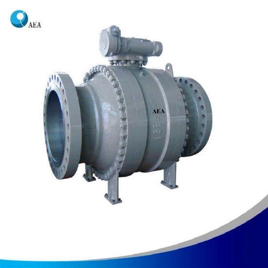 API 6D Cast Steel A216 Wcb High Pressure Reduce Bore Three Pieces Gear Box Operated Trunnion Mounted Ball Valve