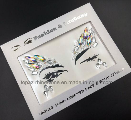 Edm music festival stage makeup party eye face custom made adhesive diamond acrylic sticker body jewel stickers s013