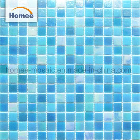 China Iridescent Blue Swimming Pool Tile Cheap Glass Mosaic ...