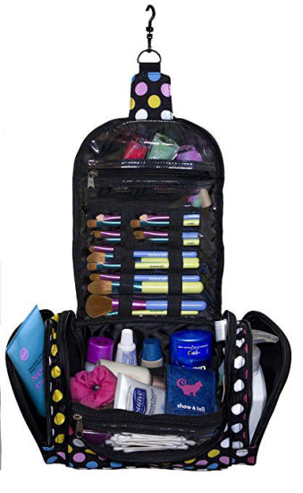 Makeup Organizer Lightweight Hanging Toiletry Travel Bag For Cosmetics With Multiple Compartments In Polka Dot Durable Stylish Fun