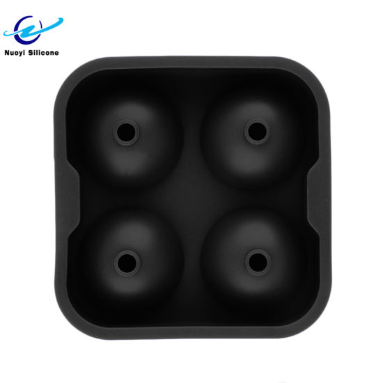 Durable 4 Hole Round Cups Spherical Balls Silicone Ice Mold