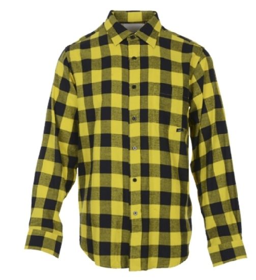 Wholesale Fancy Yarn Dyed Comfortable Men Yellow and Black Plaid Flannel Shirt