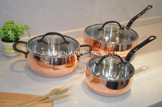 3-Ply Copper Cookware Set, Stock Pot, Kitchen Utensils, Pots and Pans Set