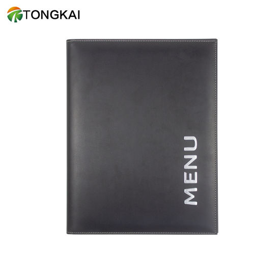 Black PU Leather Lightweight Document Holder Cover with Silk-Screen Logo