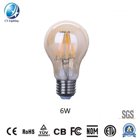 Amber Color LED Lighting LED Filament Lamp A60 6W for Decorative Places