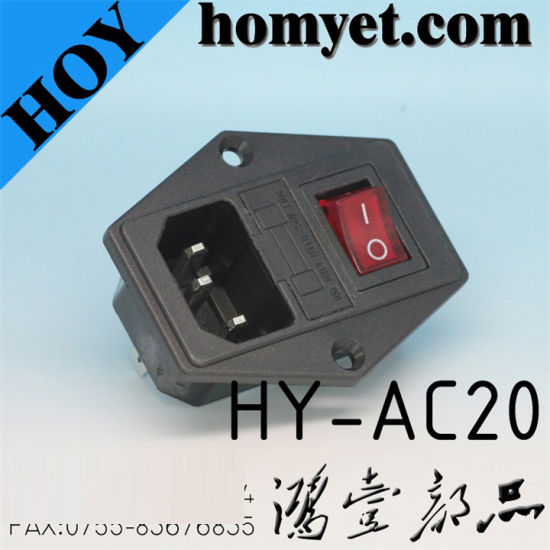 New Style Hot Sale AC Power Jack with on-off Red Button Switch (HY-AC20)