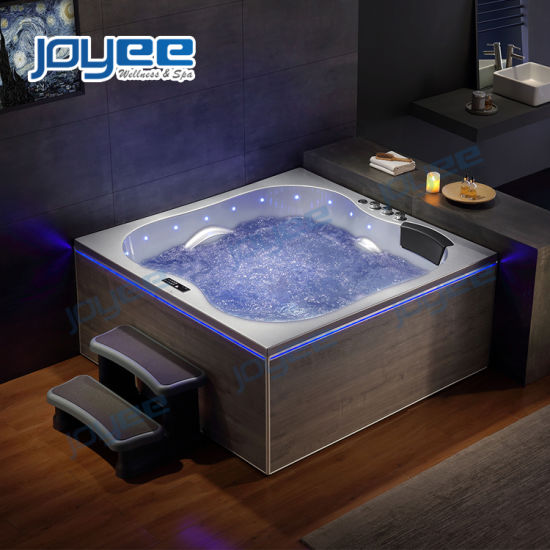 China New Material Serc Skirt Massage Whirlpool Bathroom Jacuzzi Bathtub Indoor Spa Bath For Two 3 Person China Indoor Spa Bath Two Person Indoor Jacuzzi