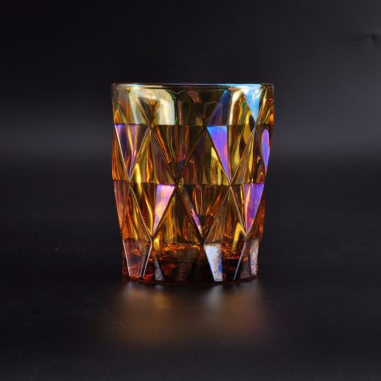 Colorful Shiny Faced Glass Candle Container pictures & photos