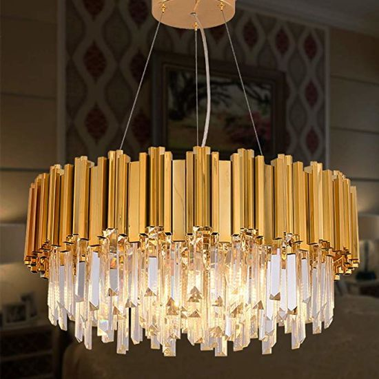 Luxury Gold Plated Crystal Chandelier Lighting Contemporary Raindrop  Chandeliers Pendant Ceiling Lights Fixture for Living Room Dining Room