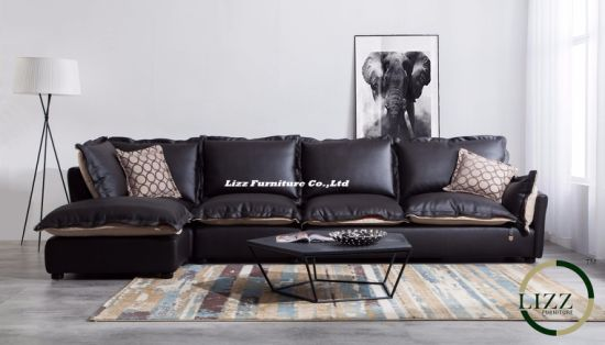 Newest Fabric and Leather Living Room Sofa Set with Feather Lz710 pictures & photos