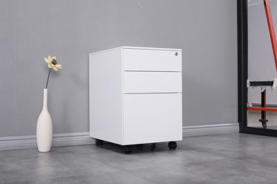 High Quality 3 Drawer Steel Office Use White Metal File Storage Mobile Pedestal Cabinet