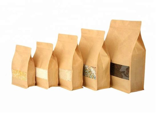 Custom Reusable Food Pouch Stand up Zip Lock Kraft Paper Bags with Window pictures & photos
