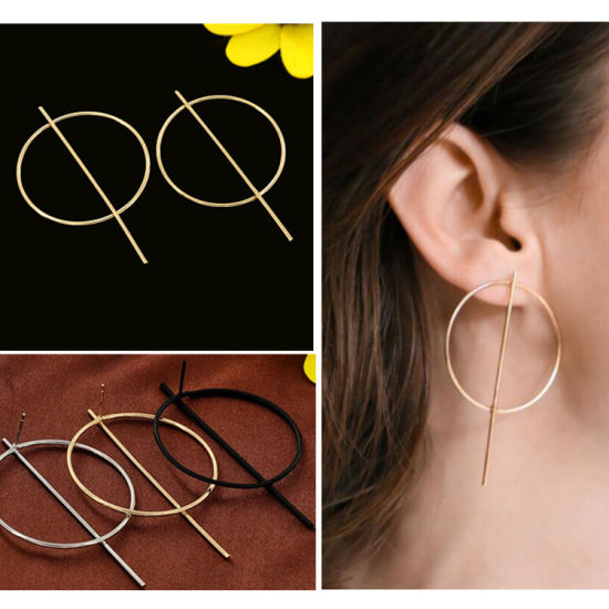 646540140233b Hot Brand Jewelry Women Fashion Circle Bar Stick Stud Earrings