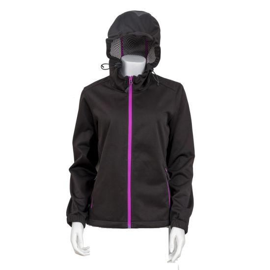 Women Breathable Windproof Winter Coat Mesh Lined Softshell Jacket Hooded