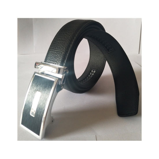 China Factory Custom Auto Chrome Plated Buckle PU Leather Belt for Man