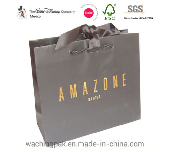 Large Customized Stamping Logo Printed Packaging Gift Shopping Paper Bags Promotional Bag for Wholesale