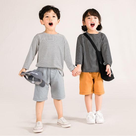 Children T Shirt Long Sleeved Unisex for Boys and Girls Spripe Patten Kids T Shirt